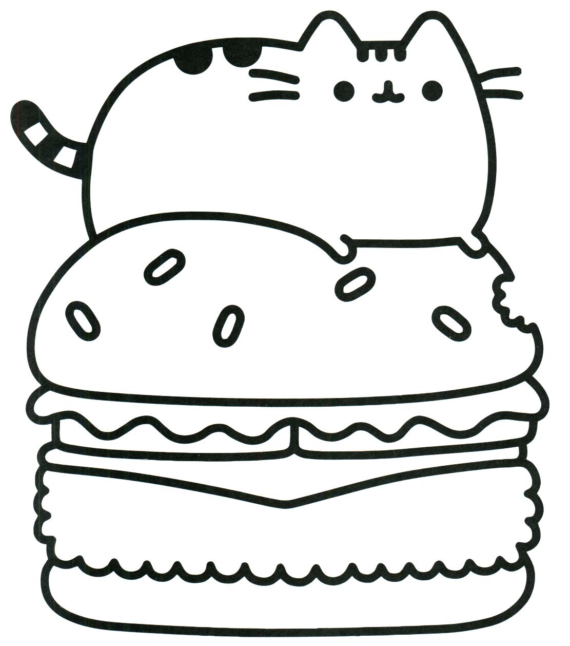 Pusheen On Hamburger