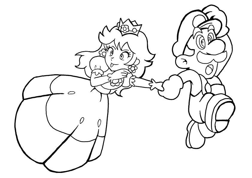 Princess Peach And Mario Running
