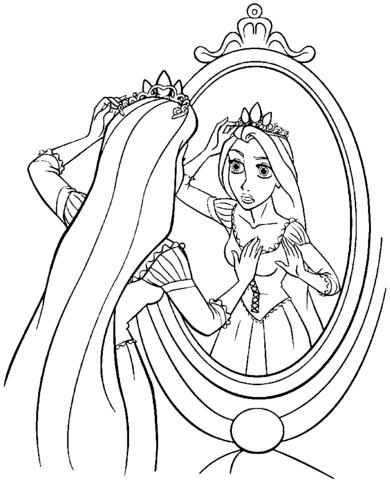 Rapunzel In Front Of Mirror