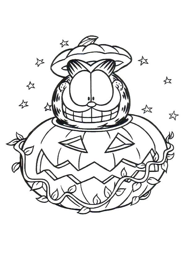 Happy Garfield In Halloween Pumpkin