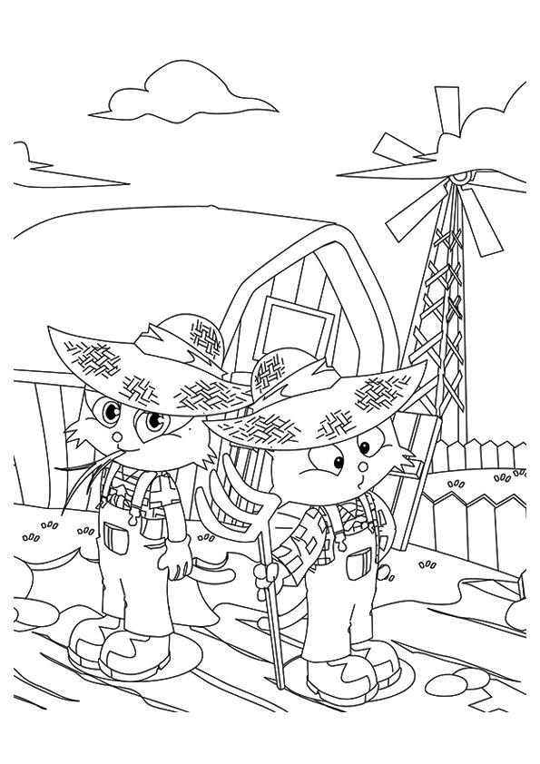 Two Cartoon Kittens Farming