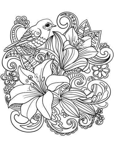 Skylark On Flowers