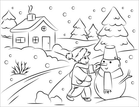 Boy Building Snowman