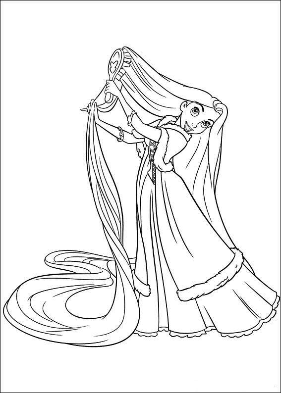 Rapunzel Brushing Her Hair