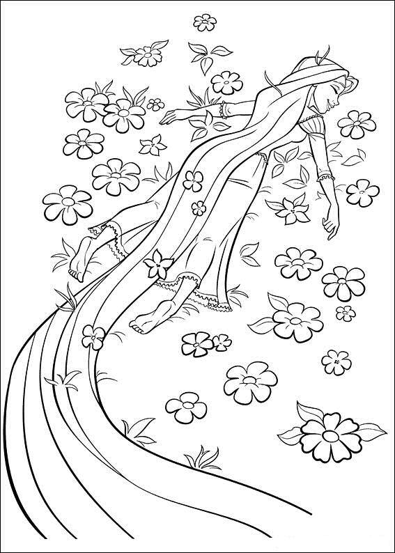 Rapunzel Lying On Flowers