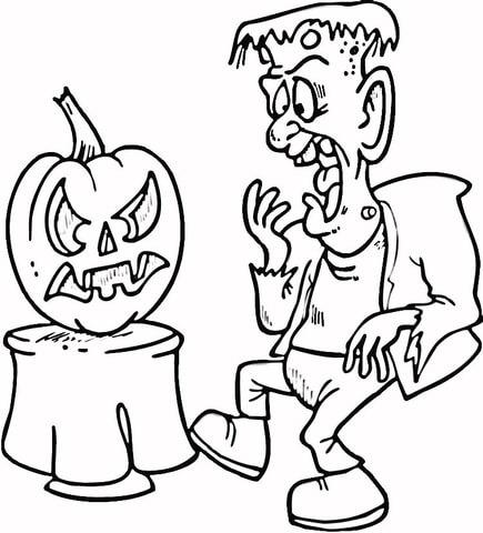 Scaring Frankenstein With Pumpkin