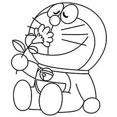Doraemon Smelling Flower