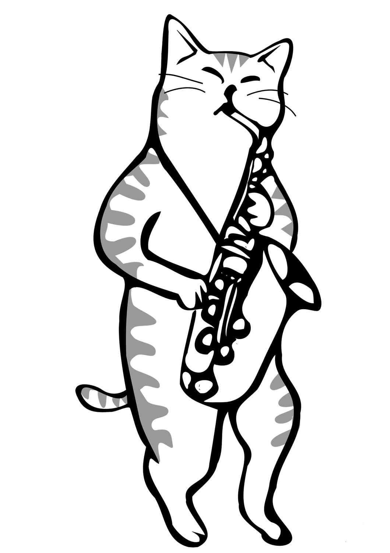 Cat Playing Saxophone
