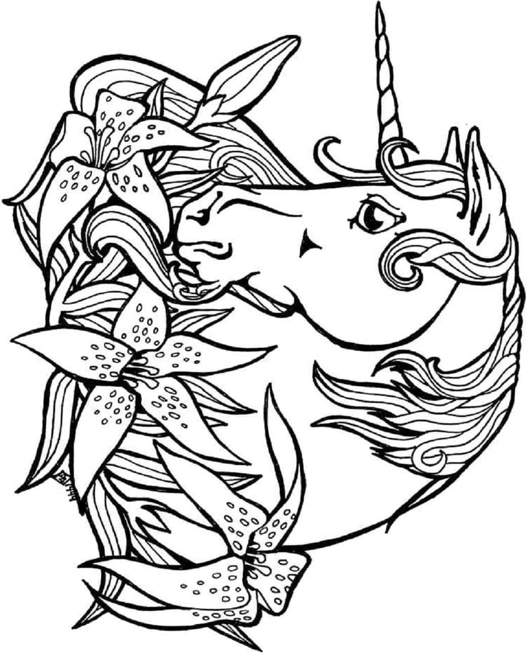 Unicorn Head And Flowers