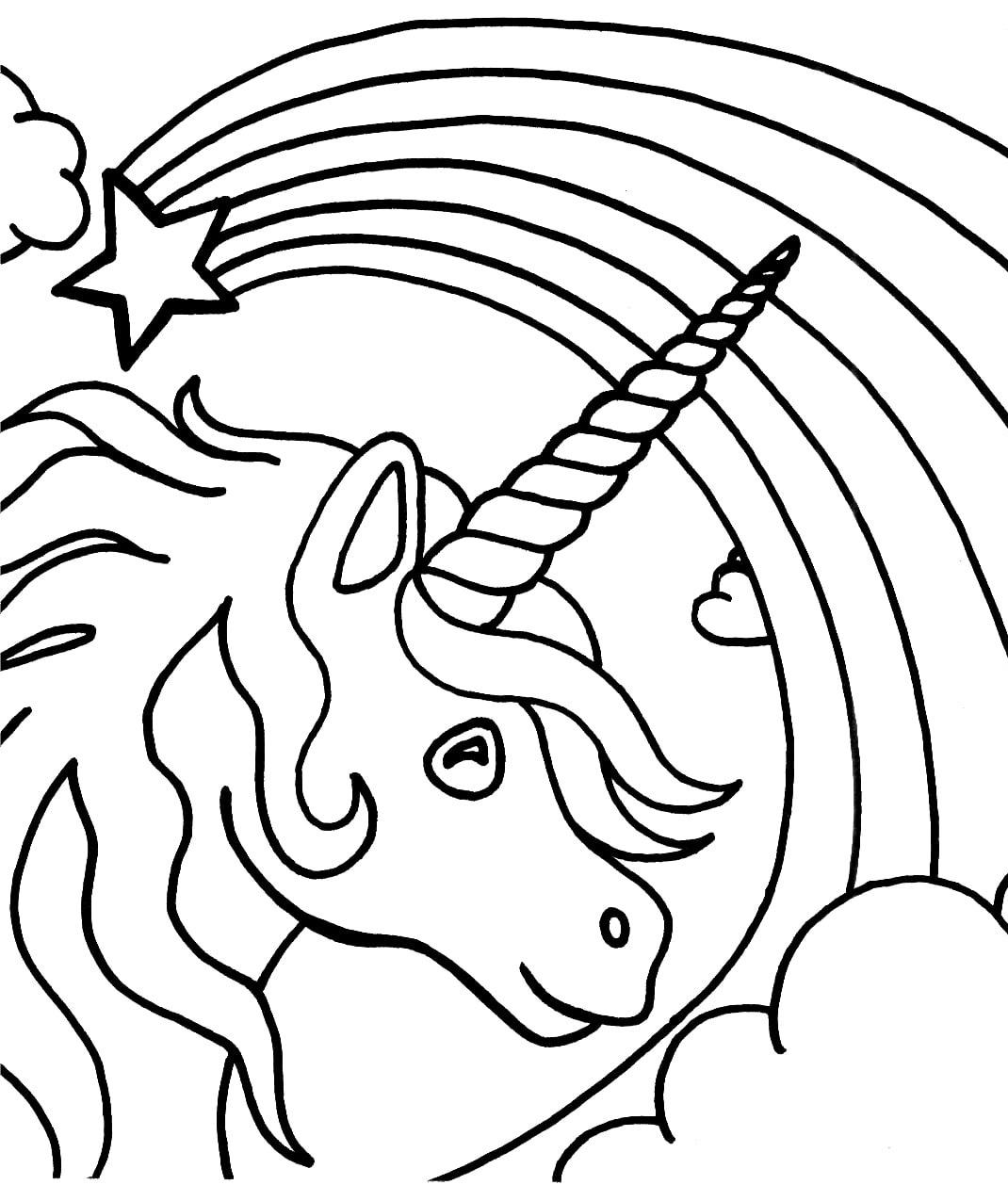 Unicorn Head With Rainbow
