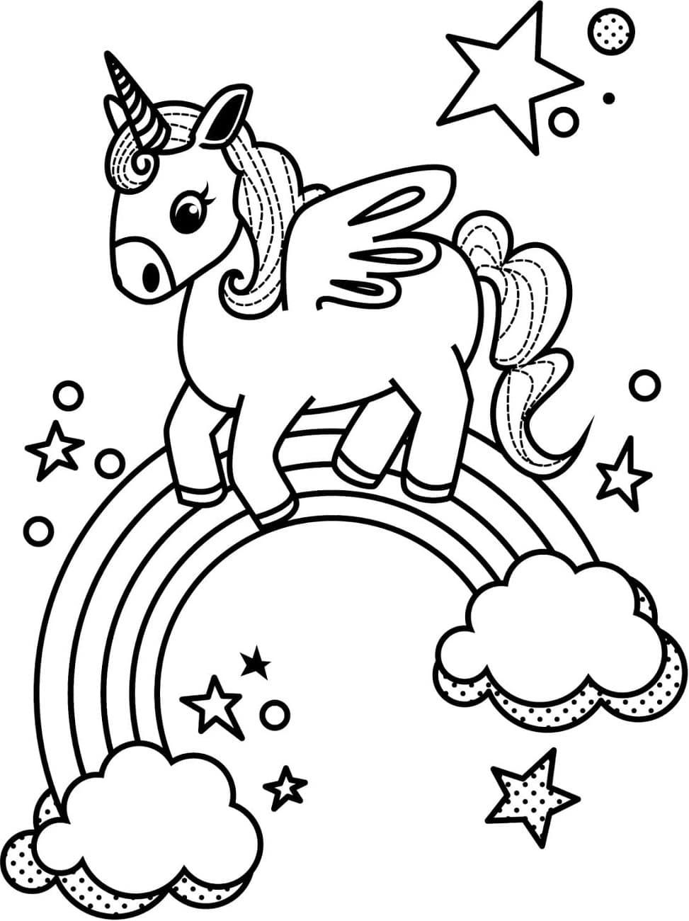 Little Unicorn And Rainbow