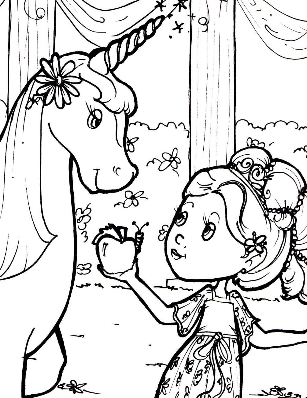 Girl Giving Apple For Unicorn