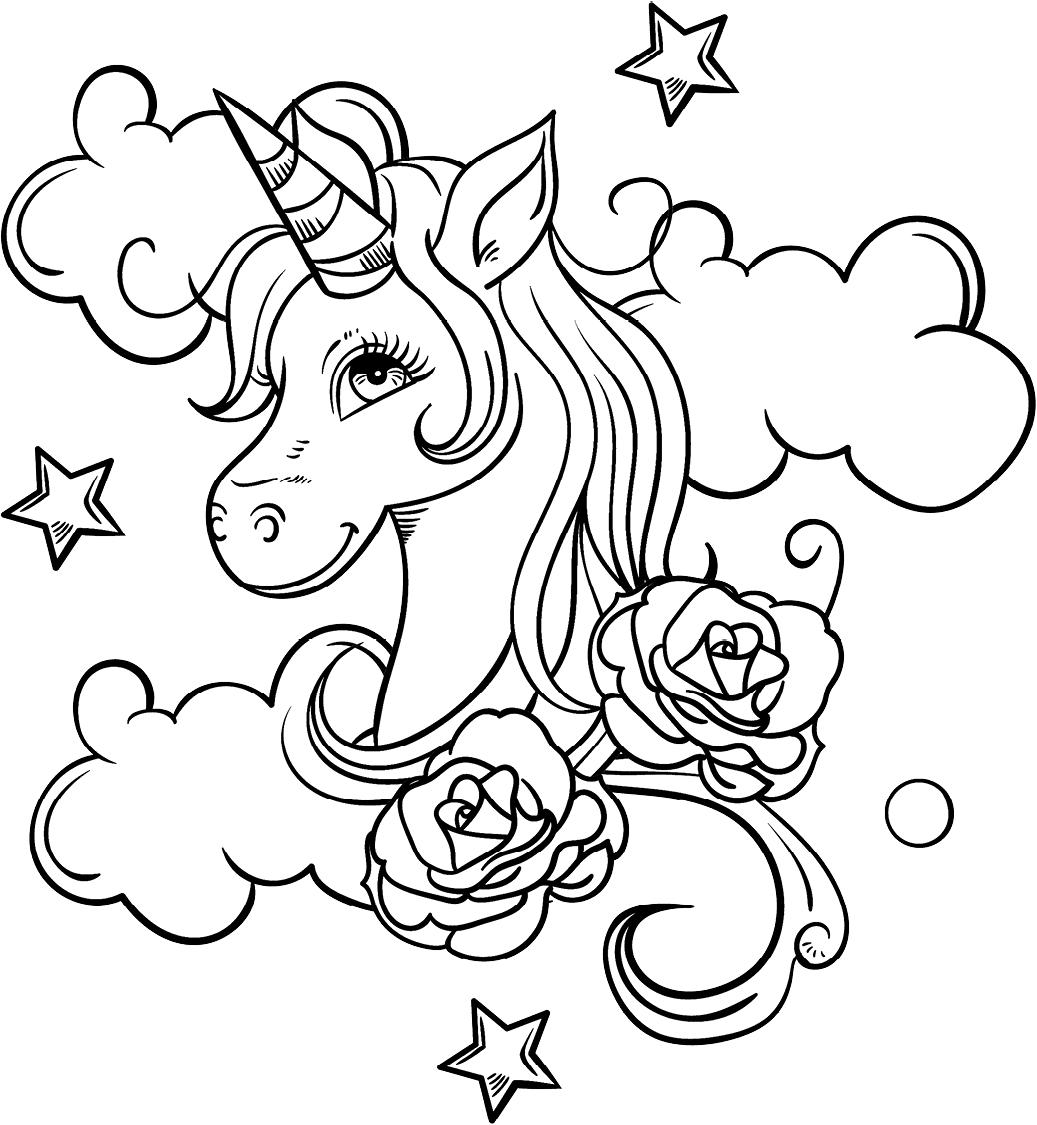 Unicorn Head And Roses