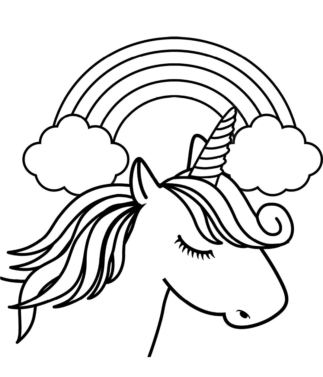 Unicorn Head In Front Of Rainbow