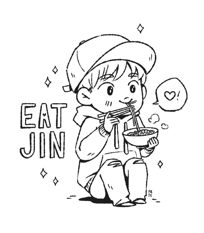 Chibi Jin Eating Noodle