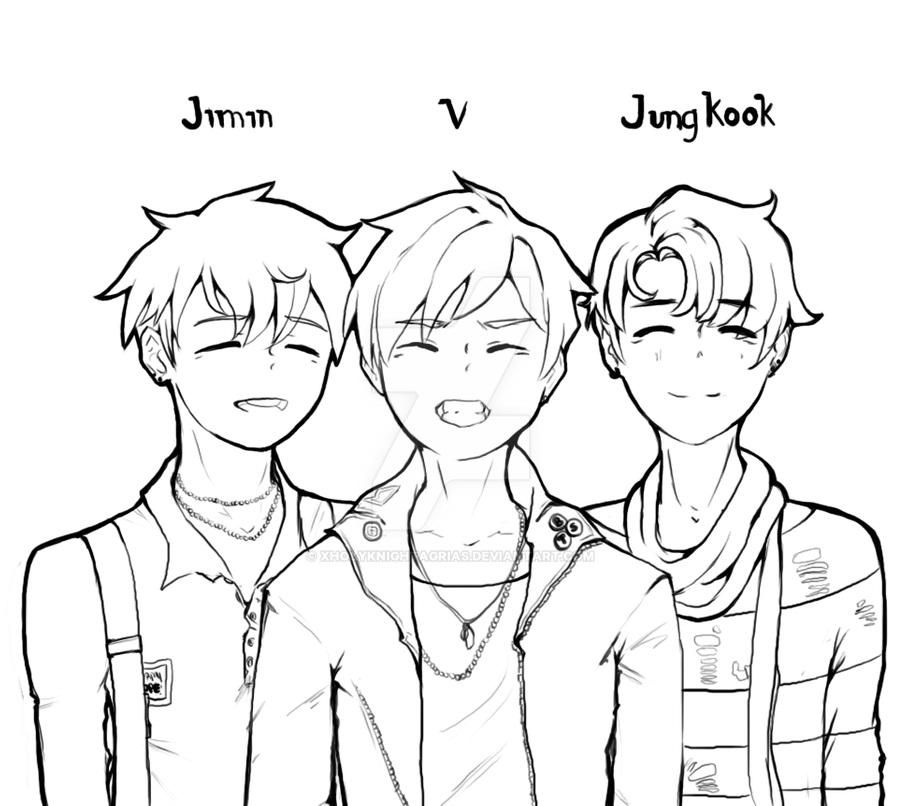 Jimin, V and Jungkook