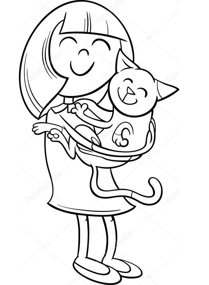 Little Girl Hugs Kitten