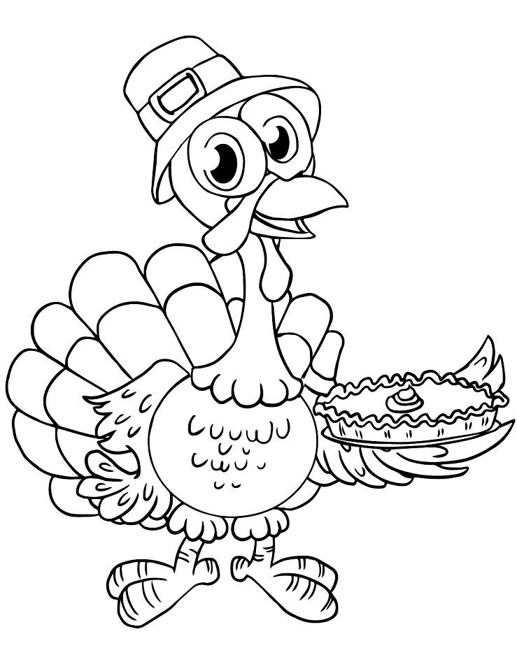 Cartoon Turkey with Pie