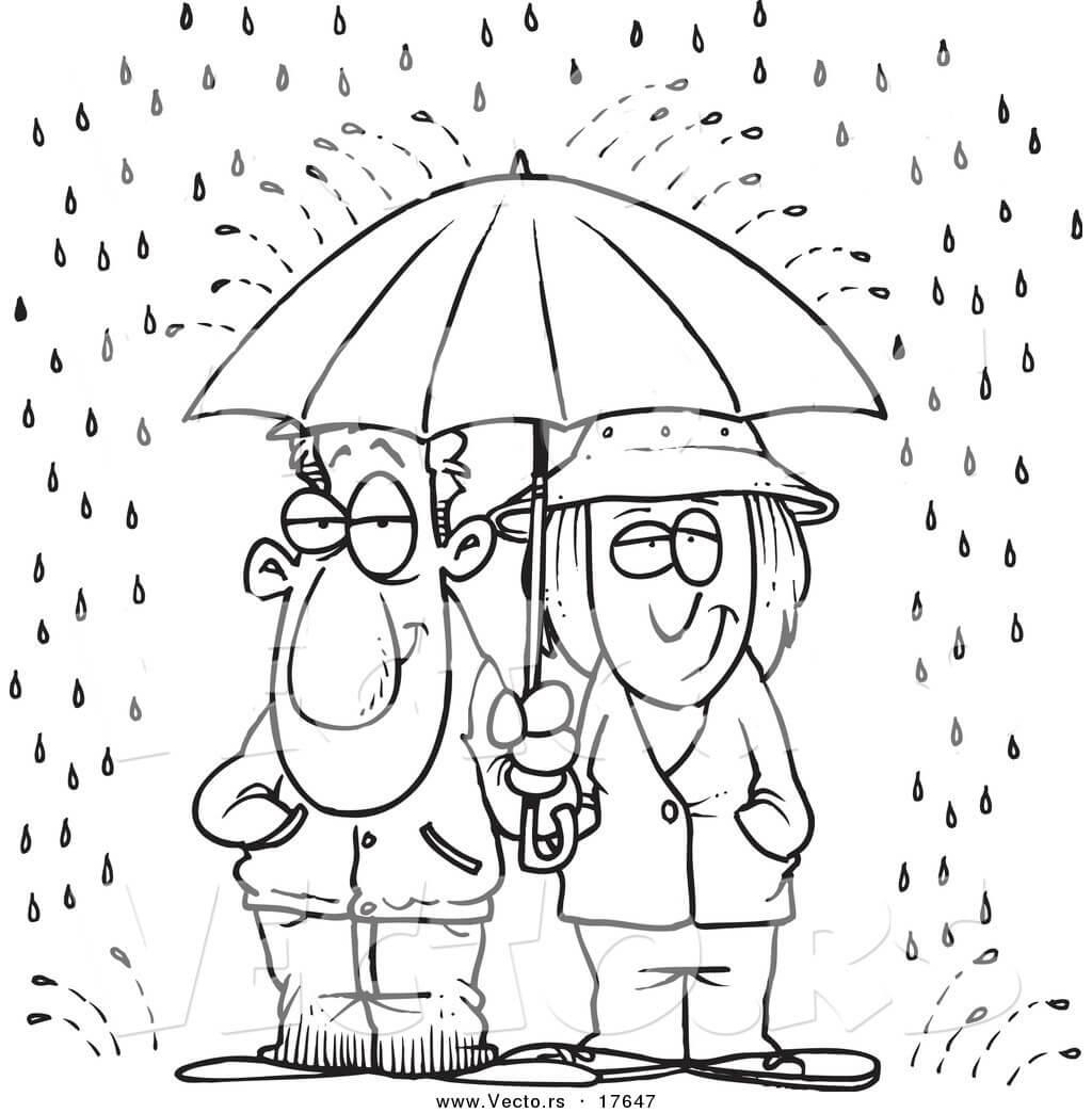 Girl and Boy in rain