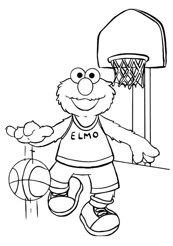 elmo playing basketball coloring page free printable