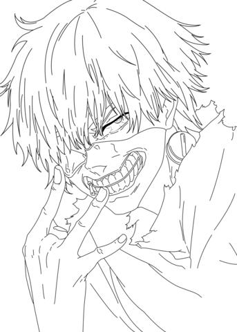 Kaneki Ken Tokyo Ghoul Coloring Page Free Printable