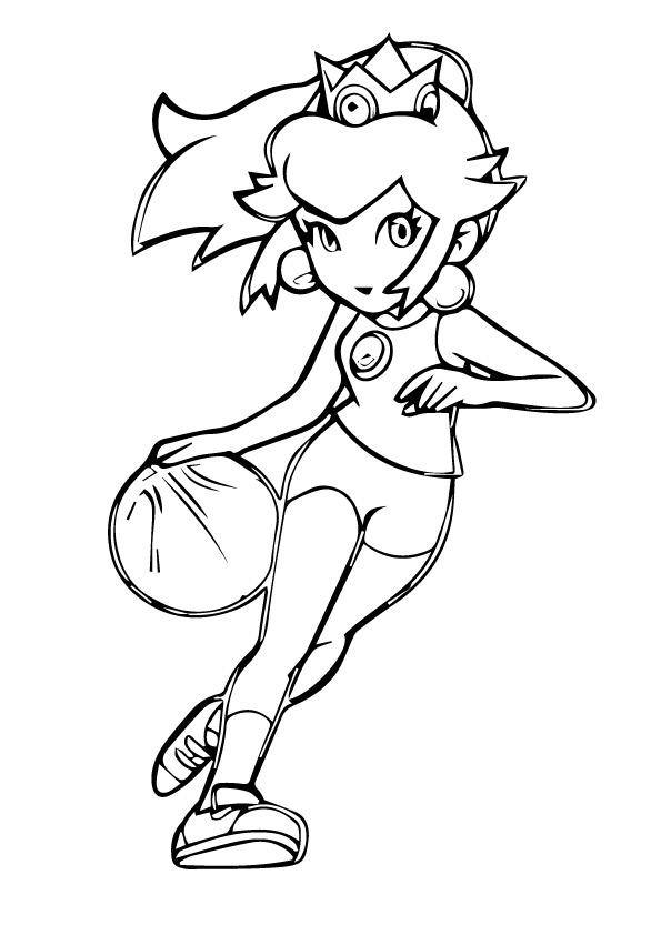 Princess Peach Playing Basketball Coloring Page Free