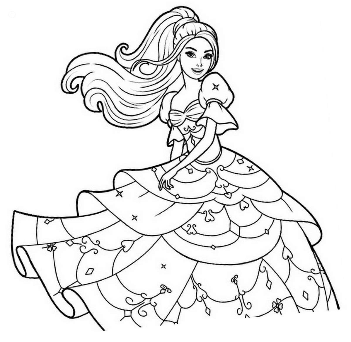 Beautiful Barbie Princess Coloring Page - Free Printable ...