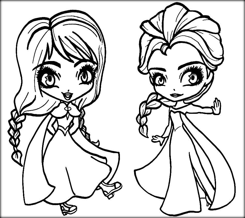 Anna And Elsa Chibi Coloring Page - Free Printable ...
