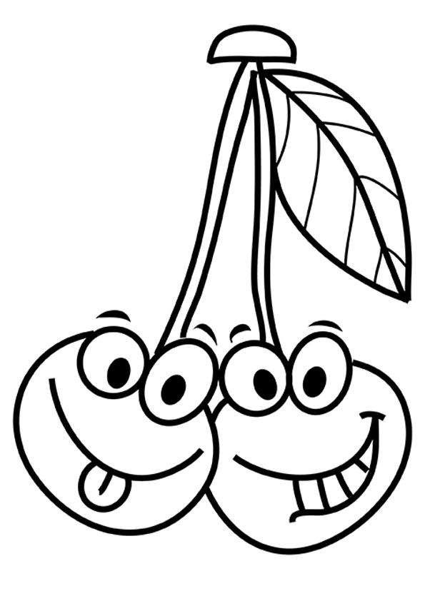 Cartoon Cherries Smiling Coloring Page Free Printable