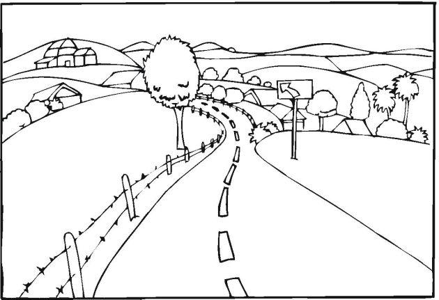 road landscape coloring page
