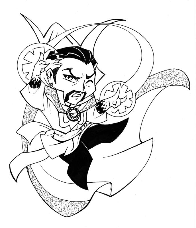Chibi Doctor Strange Coloring Page Free Printable