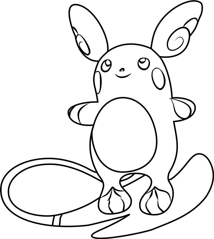 Alolan Raichu Pokemon Coloring Page Free Printable