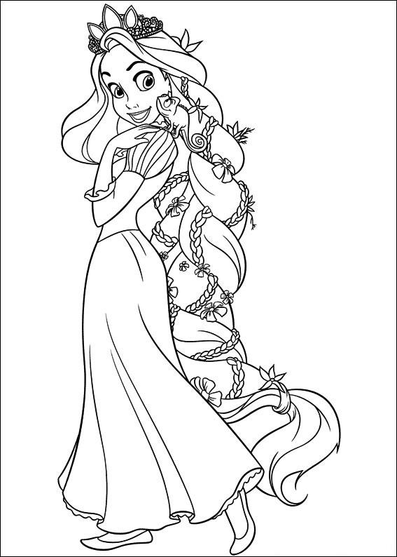Happy Rapunzel Princess Coloring Page Free Printable