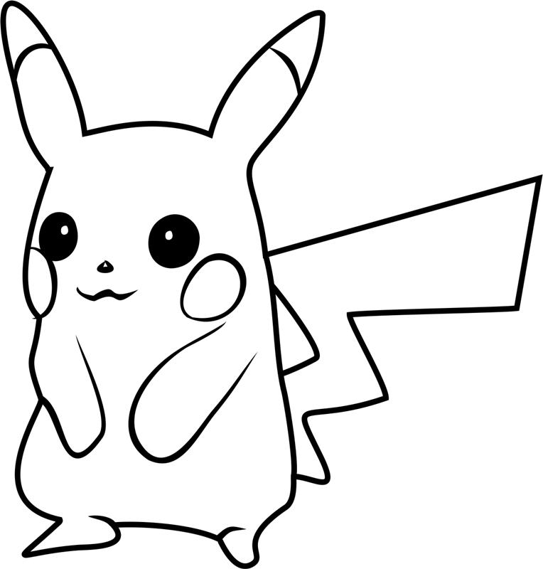 Pikachu Smiling Coloring Page - Free Printable Coloring ...