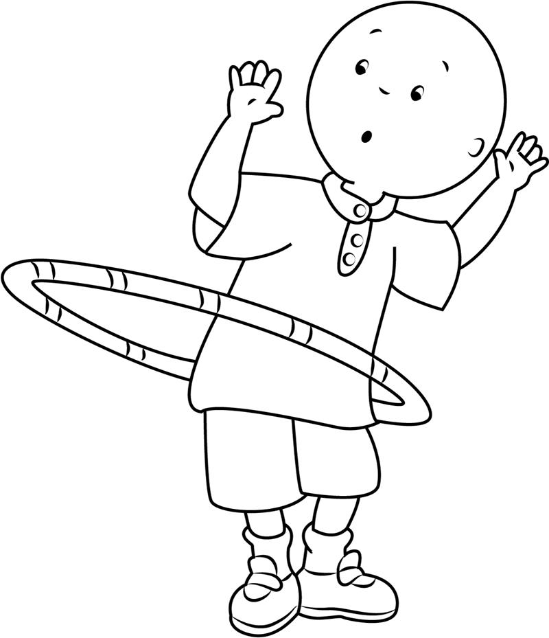 Caillou Hula Hoop Coloring Page