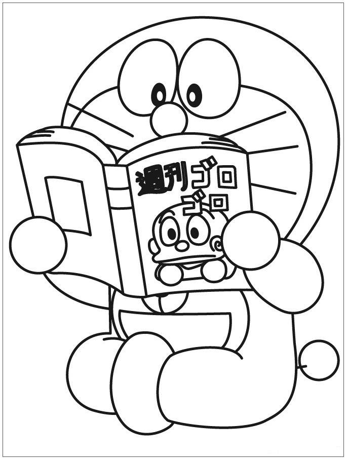 Doraemon Reading Book Coloring Page - Free Printable ...