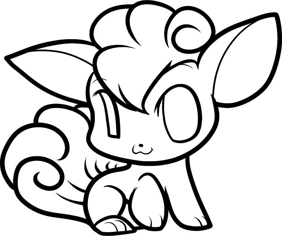 Chibi Vulpix Pokemon Coloring Page