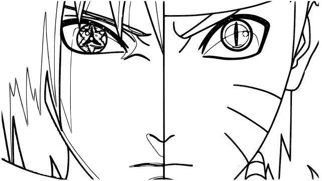 Face Of Naruto And Sasuke Coloring