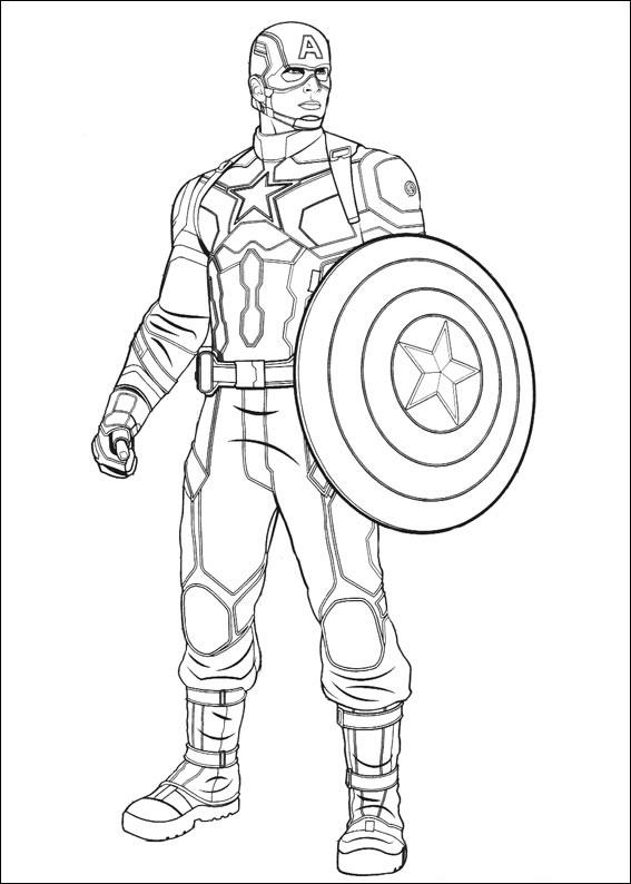tô màu cho nhân vật captain america