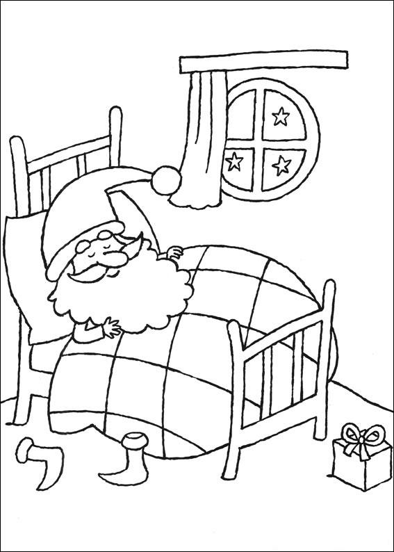 santa claus sleeping coloring page  free printable