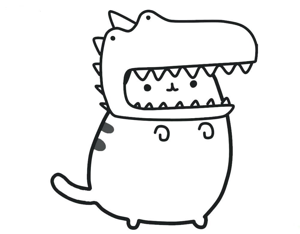 Pusheen Wearing Dinosaur Hat Coloring Page - Free ...