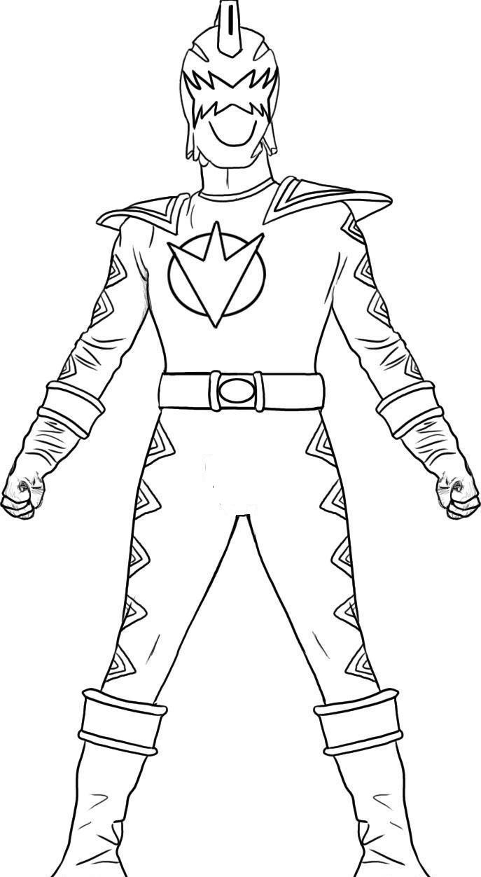 White Dino Thunder Ranger Coloring Page Free Printable