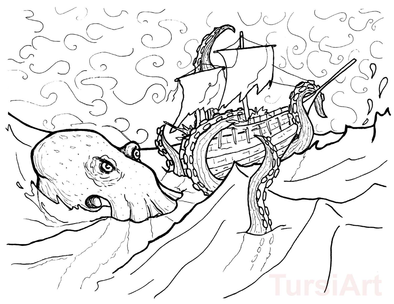 Kraken Atttacking The Ship Coloring Page Free Printable