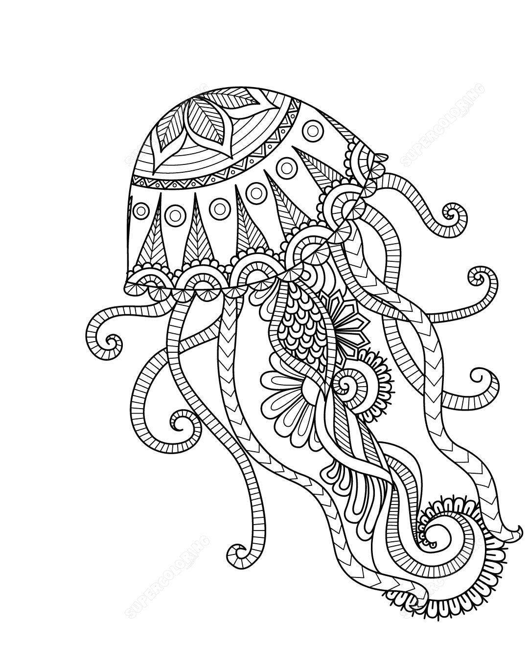 Jellyfish Mandala Coloring Page Free Printable Coloring