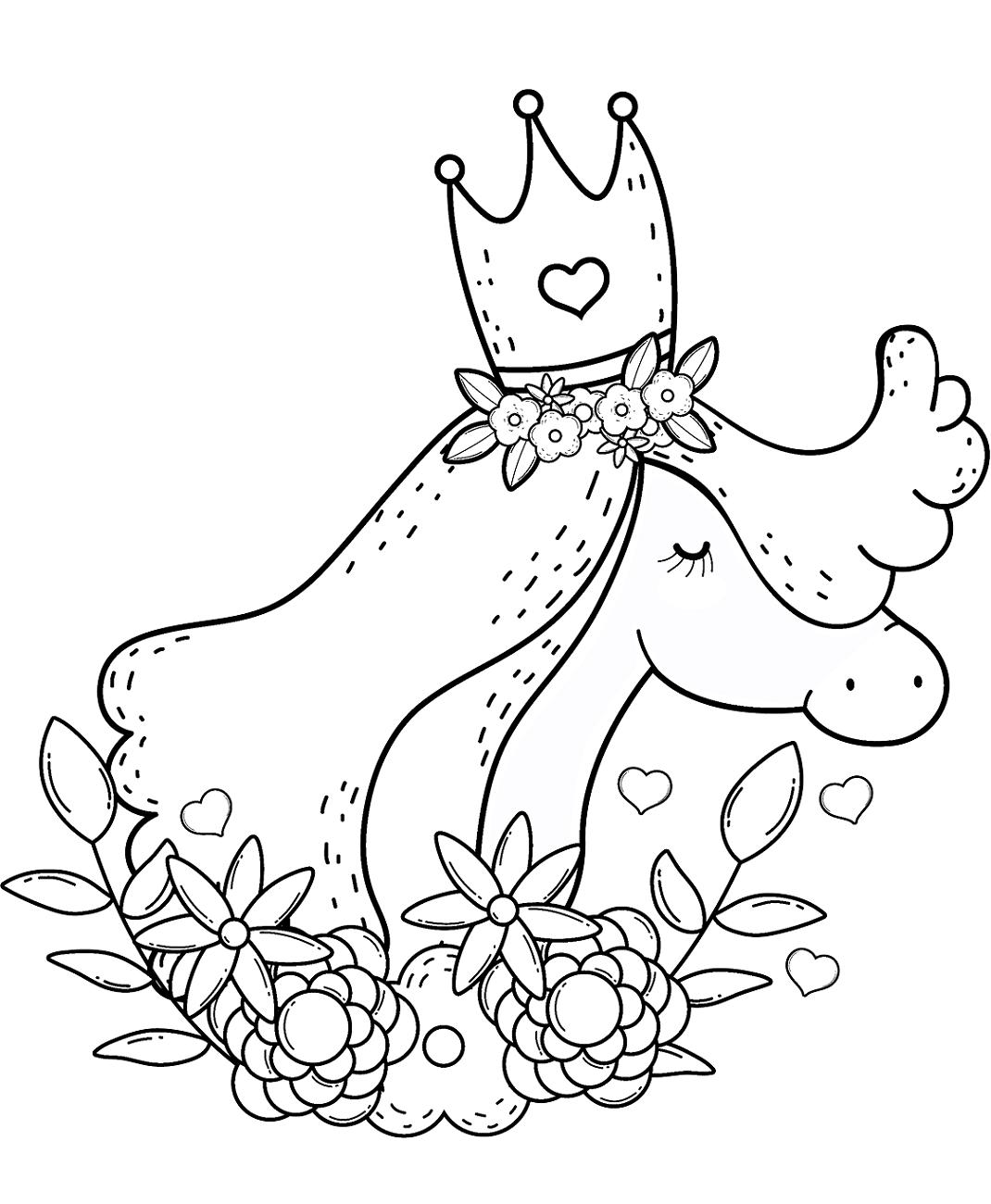Unicorn Wearing Crown Coloring Page - Free Printable ...