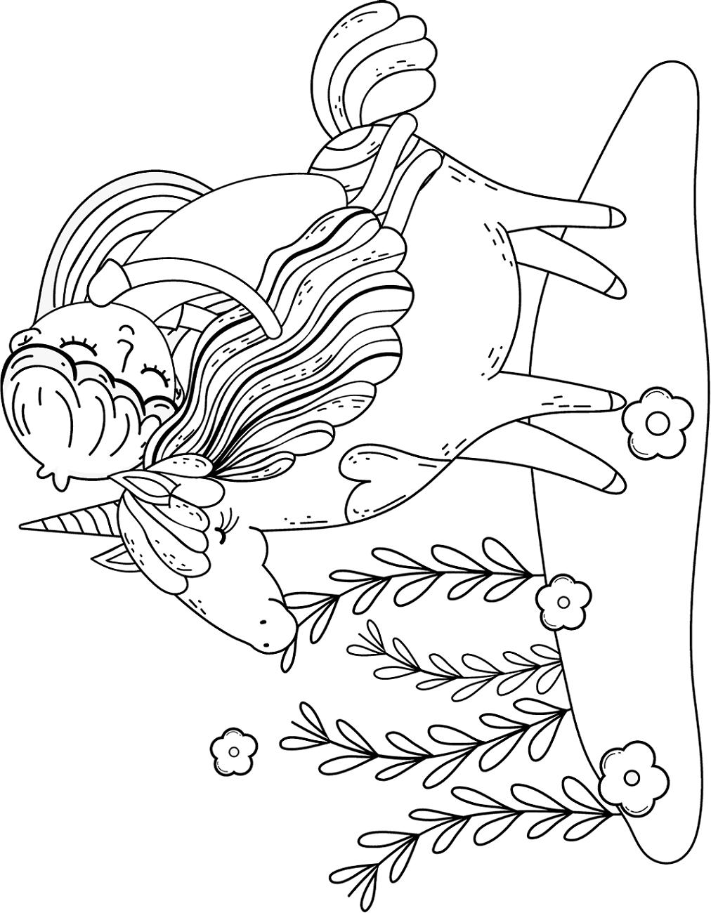 Little Princess Sleeping On Unicorn Coloring Page - Free ...