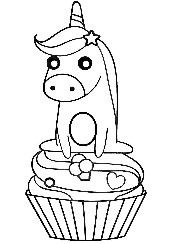 Unicorn Sitting On Cupcake Coloring Page - Free Printable ...