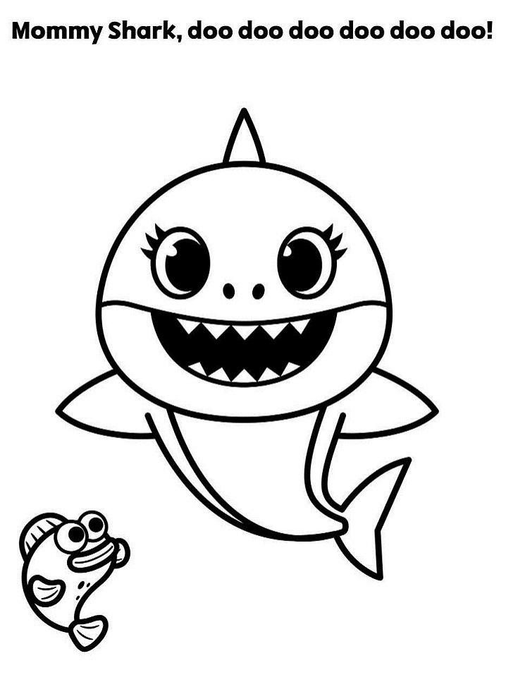 Mommy Shark Doo Doo Doo Coloring Page - Free Printable ...