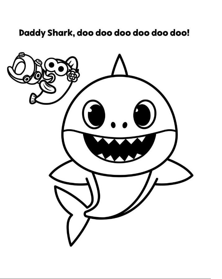 Daddy Shark Doo Doo Doo Coloring Page - Free Printable ...