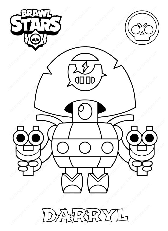 brawl stars darryl coloring page  free printable coloring